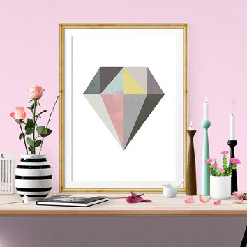 Diamond print, minimalist art, geometric print, geometric poster, watercolor art, diamond wall art, nordic style, scandinavian printable,
