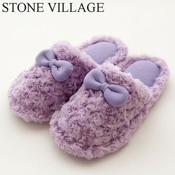 Autumn And Winter Cute Cotton Women Slippers Plus Warm Home Slippers Waterproof Non-Slip Indoor Shoes Bowtie Cute Women Shoes