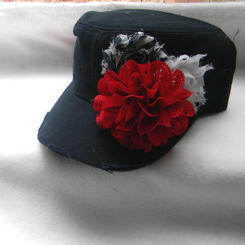 Womens hats - baseball cap- 4th of July Millitary cadet hat- Navy blue distressed hat Red white blue flowers shabby chic flower - flower hat