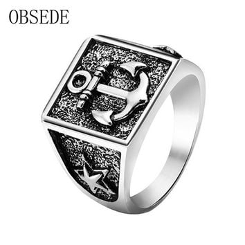OBSEDE New Arrival Anchor Ring for Men Silver Color Star Military Ring Vintage Cool Unique Jewelry for Party Gifts Drop Shipping