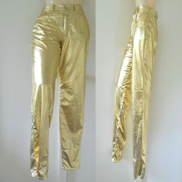 90s Club Kid Rave Pants Raver Pants Raver Clothing Rave Clothing Women 90s Rave Clothes Metallic Pants Glam Rock Pants Gold Pants Shiny