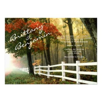 Autumn Trees Fall Leaves Fence Wedding Invitations