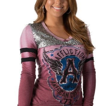 Affliction Women's Genuine Speed Sangria Red American Customs Sequined Logo Long Sleeve Tee