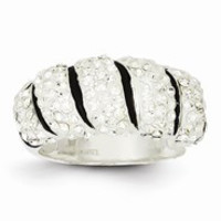 Sterling Silver Stellux Crystal Black/White Animal Print Ring