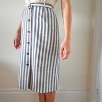 20% Off with Coupon Code 20OFFVINTAGE /// SALE /// Vintage French Gérard Pasquier Buttoned Blue & White Striped Skirt