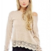 AX Paris Crochet Hem Knit Sweater(Stone, Size:S/M)