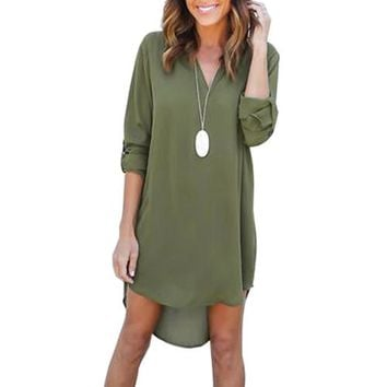 Oversized Tunic Shirts Sexy V Neck Chiffon Dress Long Sleeve Loose Mini Tunic Shirt Dress 2017 Summer Asymmetric Vestidos LX015