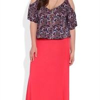 Plus Size Maxi Skirt with Ruched Waist