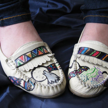 Leather Custom Native American High Heeled Moccasin Shoes size 9