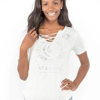 Lace-Up Celestial Graphic Tee
