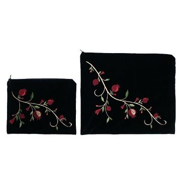 Tallit Bag Set - Velvet Embroidery Red Vines