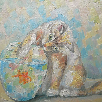 "Original Impasto Cat Still Life ""Catch you!"" Oil Painting Wall Decor Custom Pet Fish Personalized gift Contemporary Art Photo to Painting"