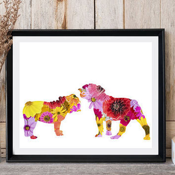 Dog print, English bulldog, Printable dog art, Modern wall decor, Greeting card, Nursery decor, Dog poster20x16, Floral print