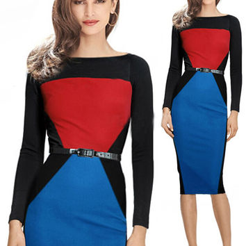 Color Block Geometric Pattern Long Sleeve Pencil Midi Dress