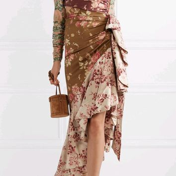 Gardens Of Thorns Multicolor Floral Pattern Long Puff Sleeve Tie Mock Neck Cut Out Ruffle Asymmetric Midi Dress - Sold Out