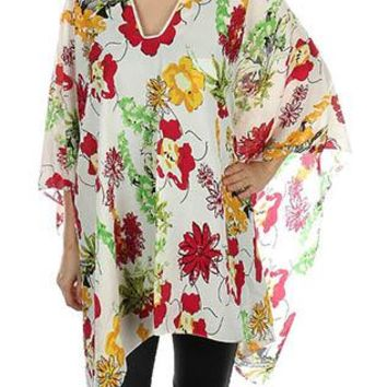 Scarf Floral Print Poncho Trimmed Collar Sheer