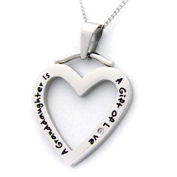A Granddaughter Is A Gift Of Love CZ Heart Stainless Steel Necklace