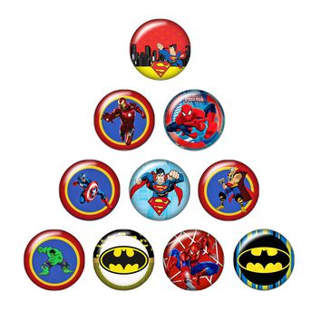Super heroes Superman Ironman 10pcs Round 12mm/18mm photo glass cabochon snap buttons silver/golden/crystal snap buttons ZB0481