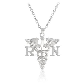 RN BSN Nurse necklace Metal Silver color Angel wings Scepter Pendant.
