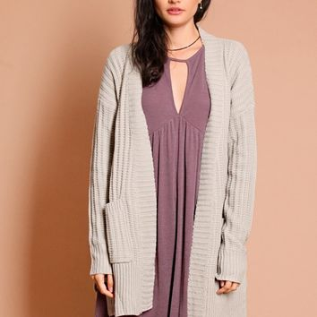 Soar Above Knit Cardigan In Taupe | Threadsence