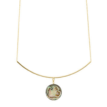 Abalone Necklace, Gold Dipped