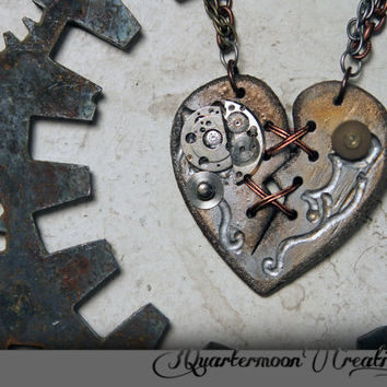 Ex Marks The Robot Heart - STEAMPUNK EDITION - Acrylic Laser Cut Broken Heart Necklace