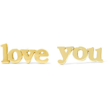 Jennifer Meyer - Love You 18-karat gold earrings