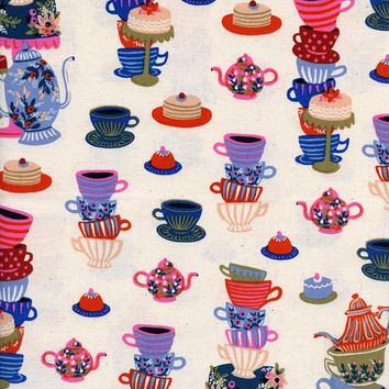 Tea Party Fabric | Saucers | Kettles | Teacups Print | Mad Hatter Tea Party | Alice in Wonderland | Kitchen | Picnic | White