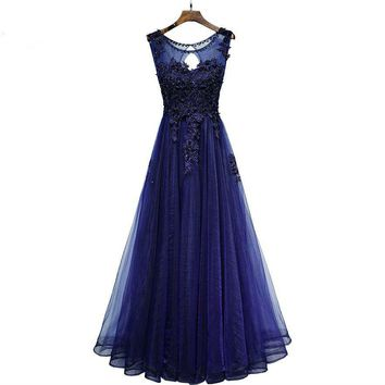 Navy Blue Evening Dresses Lace Applique Beaded Floral Tulle Prom Gowns