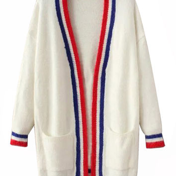 White Contrast Trim Long Sleeve Open Front Cardigan