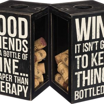 Good Friends And A Bottle Of Wine Sentiment Wooden Box Sign And Cork Holder