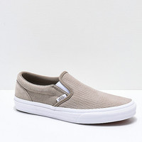 Vans Slip-On Desert Taupe & White Embossed Suede Skate Shoes | Zumiez