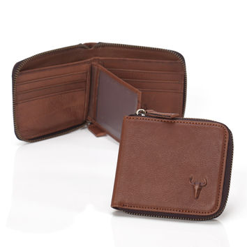 Leather Zippers Brown Ladies Vintage Wallet [9026228099]