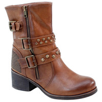 Brown Studded Strap Boot