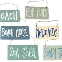 Beach House and Seashore - Beach Themed Wooden Ornaments - Set of 6