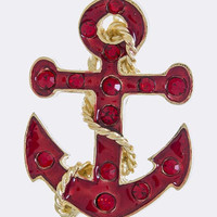DOTTED CRYSTAL ANCHOR BROOCH
