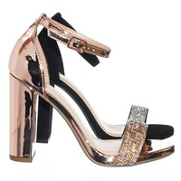 Laser Retro Rhinestone Embellished High Chunky Block Heel Party Dress Sandal