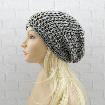 Grey Slouchy Beanie, Vegan Friendly, Crochet Slouchy Hat, Crochet Beanie, Oversized Hat, Skater Hat, Hipster Beanie, Womens Hat, Winter Hat
