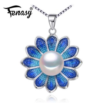 FENASY Pearl Jewelry flower necklace,Genuine natural Pearl Necklace,cloisonne Pearl Choker pendant Women 2016 Enamel Necklace