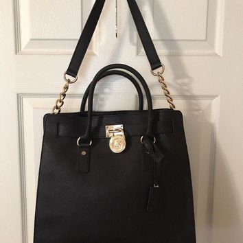 63ffd98bc1fc MICHAEL KORS HAMILTON LARGE NORTH/SOUTH TOTE PURSE BAG BLACK-1