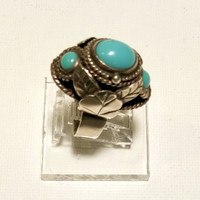 Old Turquoise Poison Ring Size 7 - 8 Adjustable Vintage Silver Locket Pill Box Ring Blue Stone December Birthstone