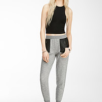 Faux Leather-Paneled Sweatpants