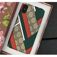 Gucci IPhoneX shell leather case with a hard shell to prevent a new wave of men and women red green stripes