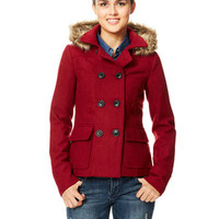 Hooded Faux Fur Trim Peacoat with Thinsulate