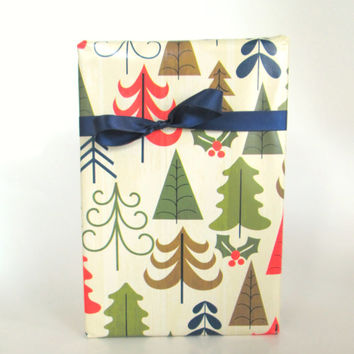 Modern Country Christmas Trees Wrapping Paper, 10 ft x 2 ft. / 3.048 m. x .60 m. Roll, Masculine Holiday Gift Wrap