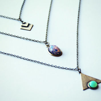 geometric opal layer necklace, triangle necklace, opal necklace, chevron necklace, triple necklace