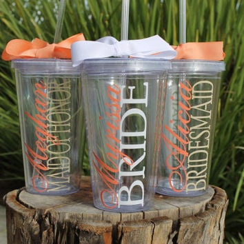Set of 6 Personalized Tumblers with Names for Bridal Party - Bride Bridesmaid Maid of Honor Great for Bridal Party Gifts and Wedding Parties