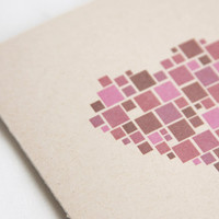 Pixel Mosaic Heart  /  Blank Card  /  Eco-Friendly
