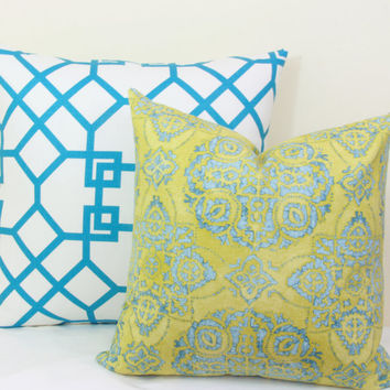 "Citrine & aqua batik decorative throw pillow cover. 18"" x 18"". 20"" x 20"".22"" x 22"". 24"" x 24"". lumbar sizes"