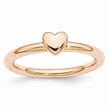Rose Gold Tone Sterling Silver Stackable 4.5mm Puffed Heart Ring